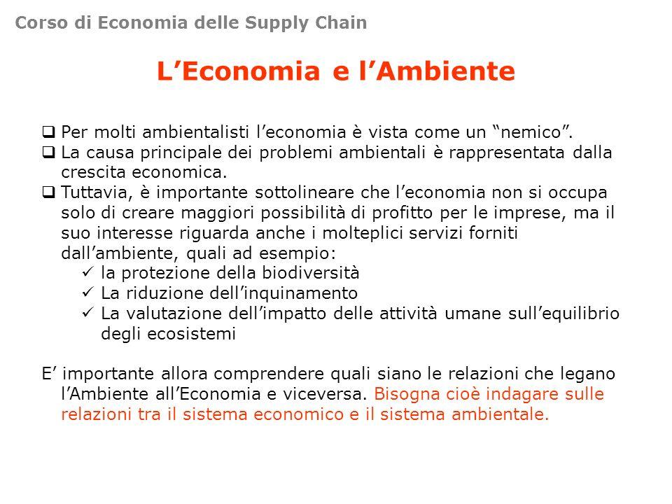 Corso di Economia delle Supply Chain LEconomia e lAmbiente Per molti ambientalisti leconomia è vista come un nemico. La causa principale dei problemi