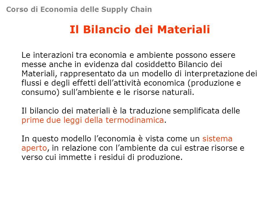 Il Bilancio dei Materiali Le interazioni tra economia e ambiente possono essere messe anche in evidenza dal cosiddetto Bilancio dei Materiali, rappres