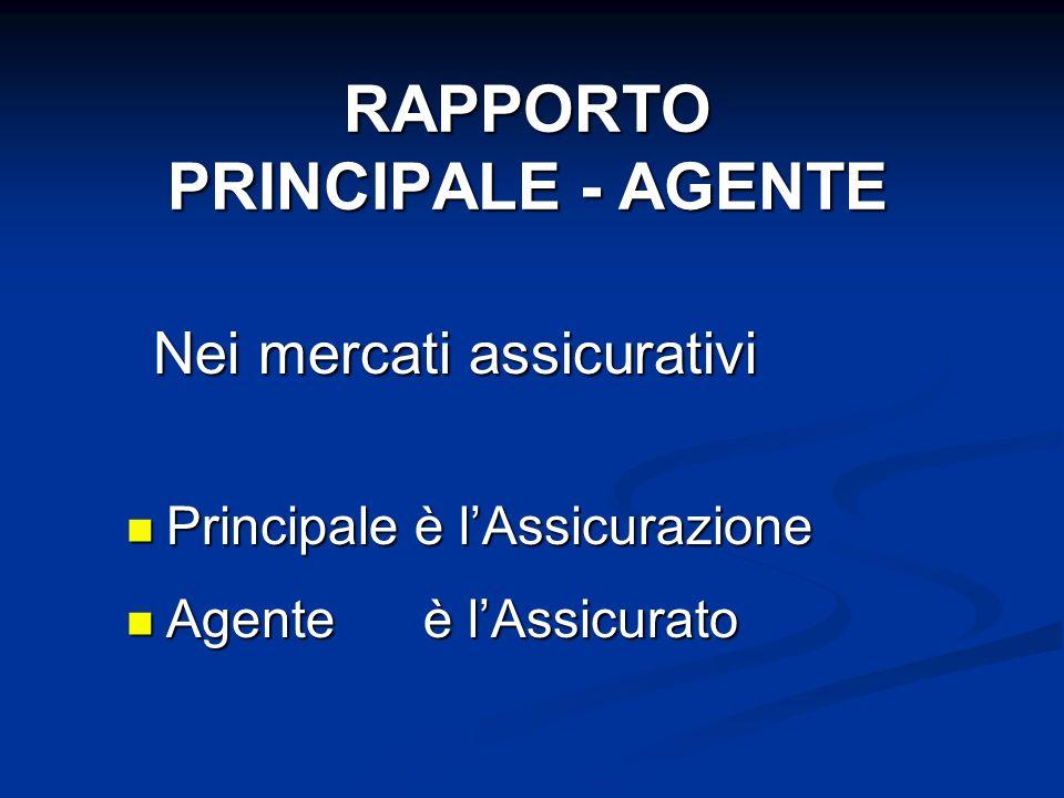Principale è lAssicurazione Principale è lAssicurazione Agente è lAssicurato Agente è lAssicurato RAPPORTO PRINCIPALE - AGENTE Nei mercati assicurativ
