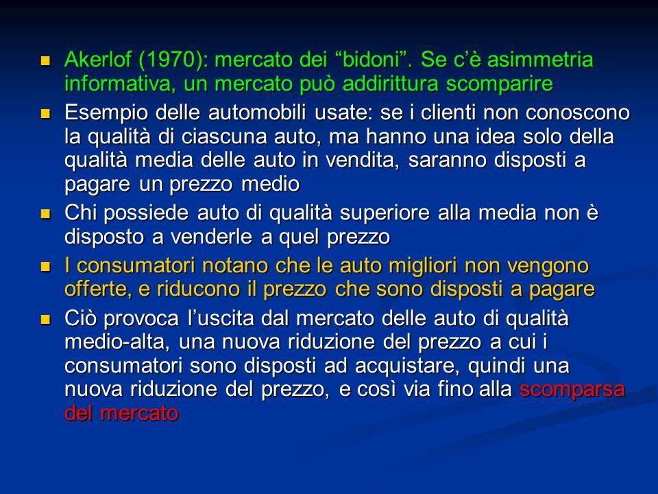 Akerlof (1970): mercato dei bidoni. Se cè asimmetria informativa, un mercato può addirittura scomparire Akerlof (1970): mercato dei bidoni. Se cè asim