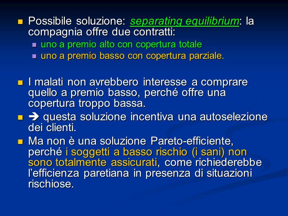 Possibile soluzione: separating equilibrium: la compagnia offre due contratti: Possibile soluzione: separating equilibrium: la compagnia offre due con