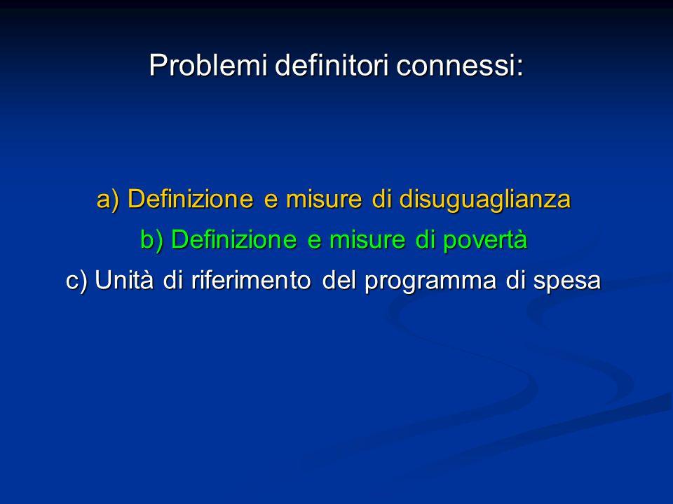 Problemi definitori connessi: a) Definizione e misure di disuguaglianza b) Definizione e misure di povertà c) Unità di riferimento del programma di sp