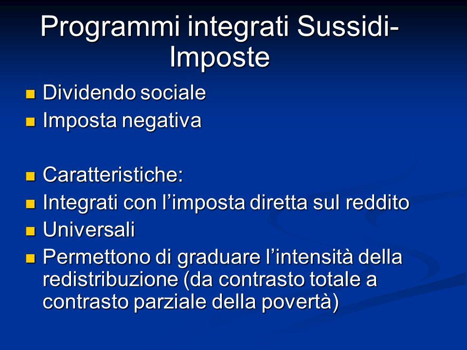 Programmi integrati Sussidi- Imposte Dividendo sociale Dividendo sociale Imposta negativa Imposta negativa Caratteristiche: Caratteristiche: Integrati