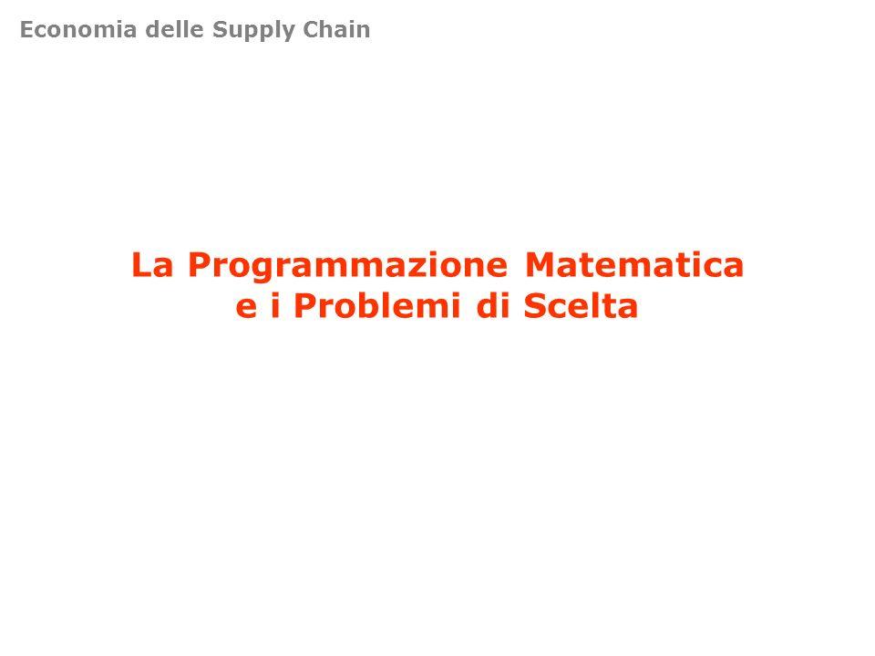 Economia delle Supply Chain La Programmazione Matematica e i Problemi di Scelta
