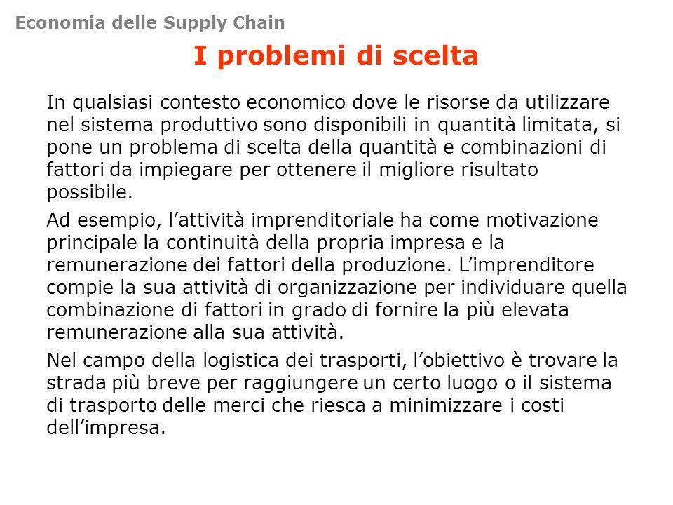 I problemi di scelta In qualsiasi contesto economico dove le risorse da utilizzare nel sistema produttivo sono disponibili in quantità limitata, si po