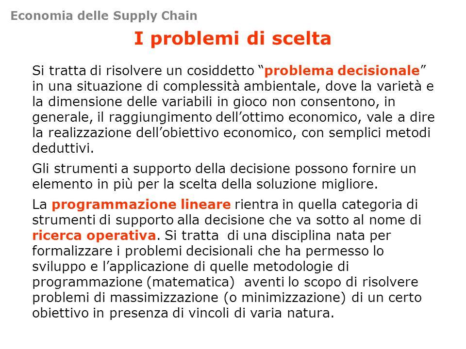 I problemi di scelta Si tratta di risolvere un cosiddetto problema decisionale in una situazione di complessità ambientale, dove la varietà e la dimen
