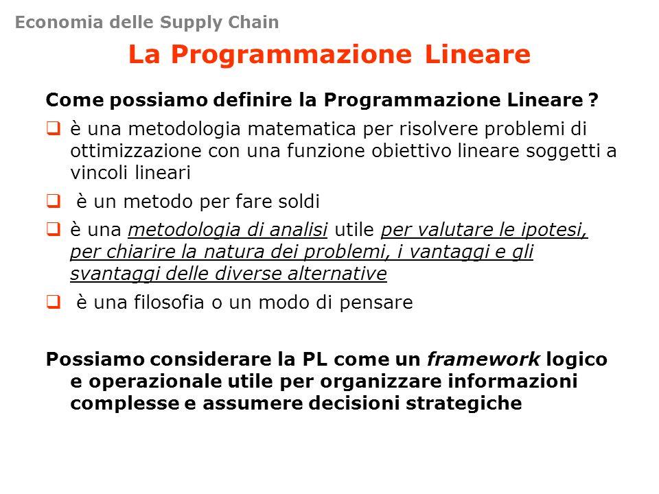 La Programmazione Lineare Come possiamo definire la Programmazione Lineare ? è una metodologia matematica per risolvere problemi di ottimizzazione con