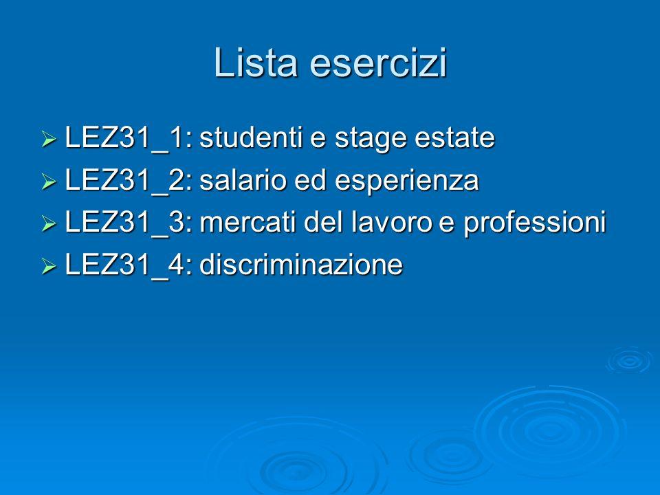 Lista esercizi LEZ31_1: studenti e stage estate LEZ31_1: studenti e stage estate LEZ31_2: salario ed esperienza LEZ31_2: salario ed esperienza LEZ31_3: mercati del lavoro e professioni LEZ31_3: mercati del lavoro e professioni LEZ31_4: discriminazione LEZ31_4: discriminazione