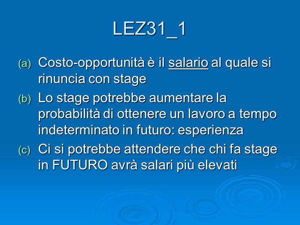 LEZ31_1 (a) Costo-opportunità è il salario al quale si rinuncia con stage (b) Lo stage potrebbe aumentare la probabilità di ottenere un lavoro a tempo indeterminato in futuro: esperienza (c) Ci si potrebbe attendere che chi fa stage in FUTURO avrà salari più elevati