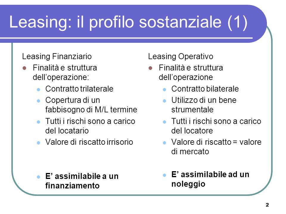 2 Leasing: il profilo sostanziale (1) Leasing Finanziario Finalità e struttura delloperazione: Contratto trilaterale Copertura di un fabbisogno di M/L