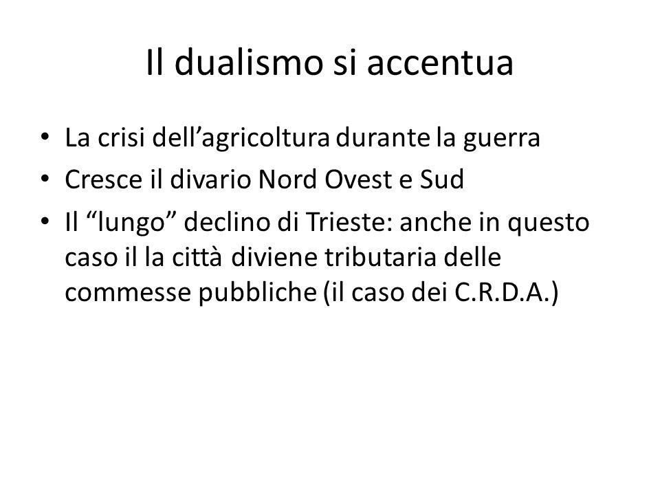 Il dualismo si accentua La crisi dellagricoltura durante la guerra Cresce il divario Nord Ovest e Sud Il lungo declino di Trieste: anche in questo cas
