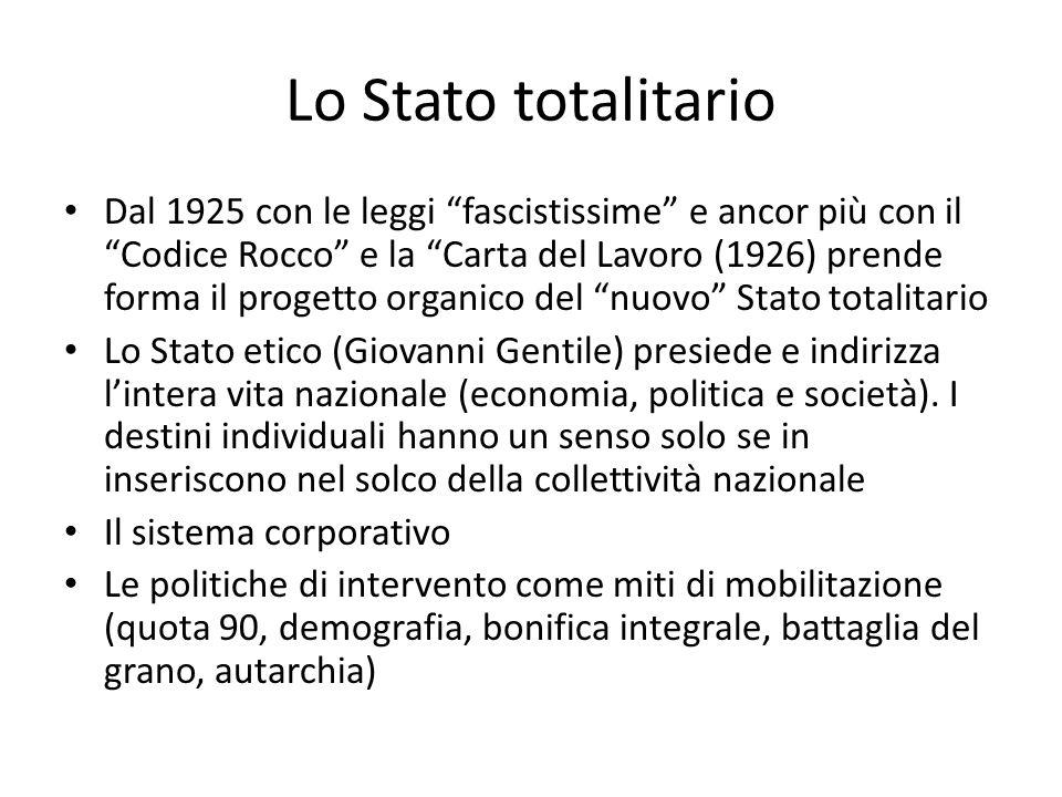 Lo Stato totalitario Dal 1925 con le leggi fascistissime e ancor più con il Codice Rocco e la Carta del Lavoro (1926) prende forma il progetto organic