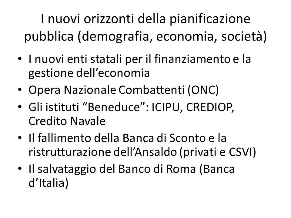 I nuovi orizzonti della pianificazione pubblica (demografia, economia, società) I nuovi enti statali per il finanziamento e la gestione delleconomia O