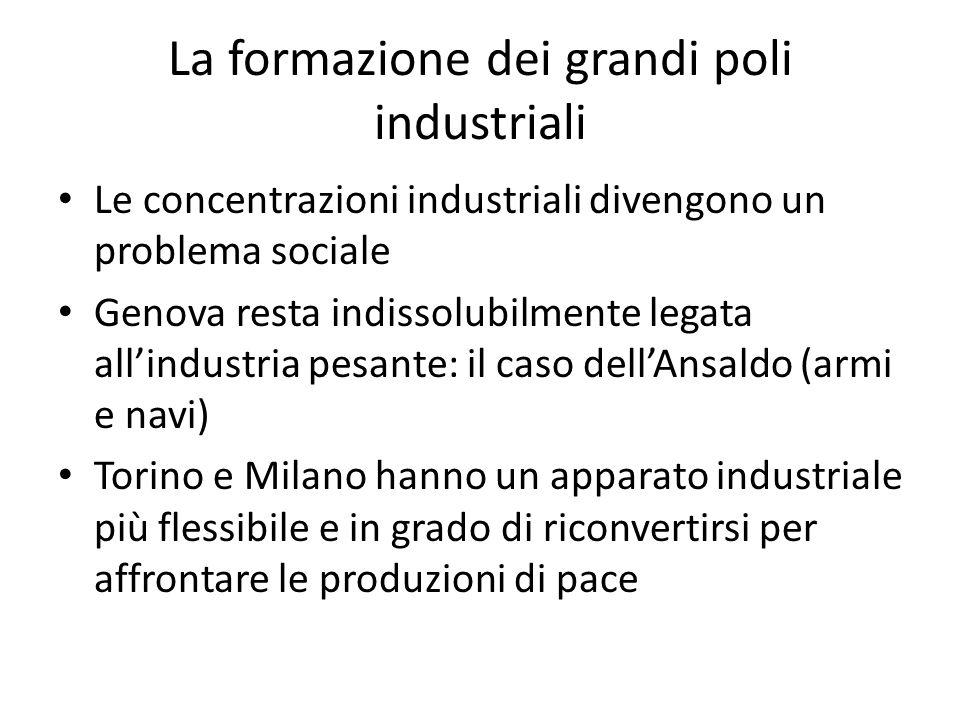 La formazione dei grandi poli industriali Le concentrazioni industriali divengono un problema sociale Genova resta indissolubilmente legata allindustr