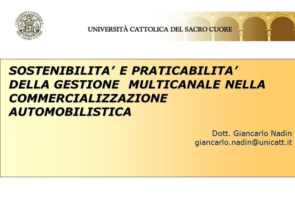 SOSTENIBILITA E PRATICABILITA DELLA GESTIONE MULTICANALE NELLA COMMERCIALIZZAZIONE AUTOMOBILISTICA Dott.