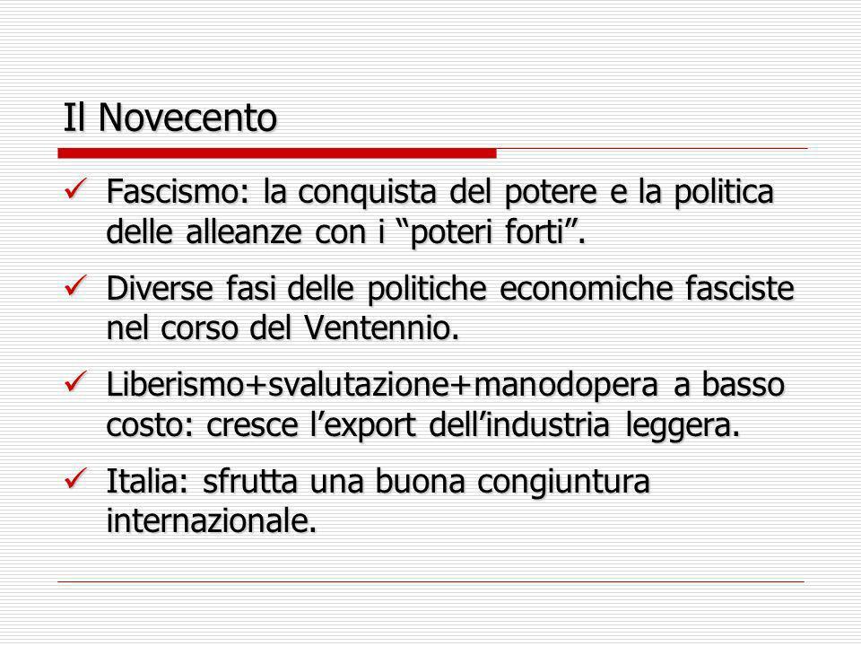 Il Novecento Fascismo: la conquista del potere e la politica delle alleanze con i poteri forti. Fascismo: la conquista del potere e la politica delle