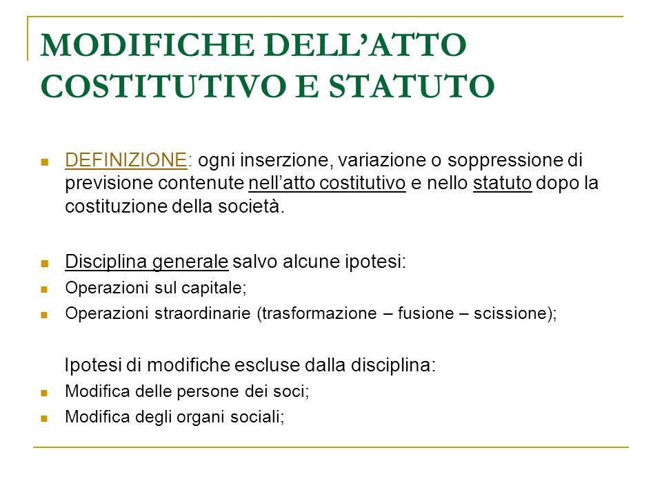MODIFICHE DELLATTO COSTITUTIVO E STATUTO DEFINIZIONE: ogni inserzione, variazione o soppressione di previsione contenute nellatto costitutivo e nello statuto dopo la costituzione della società.
