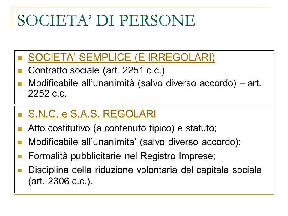 SOCIETA DI PERSONE SOCIETA SEMPLICE (E IRREGOLARI) Contratto sociale (art.