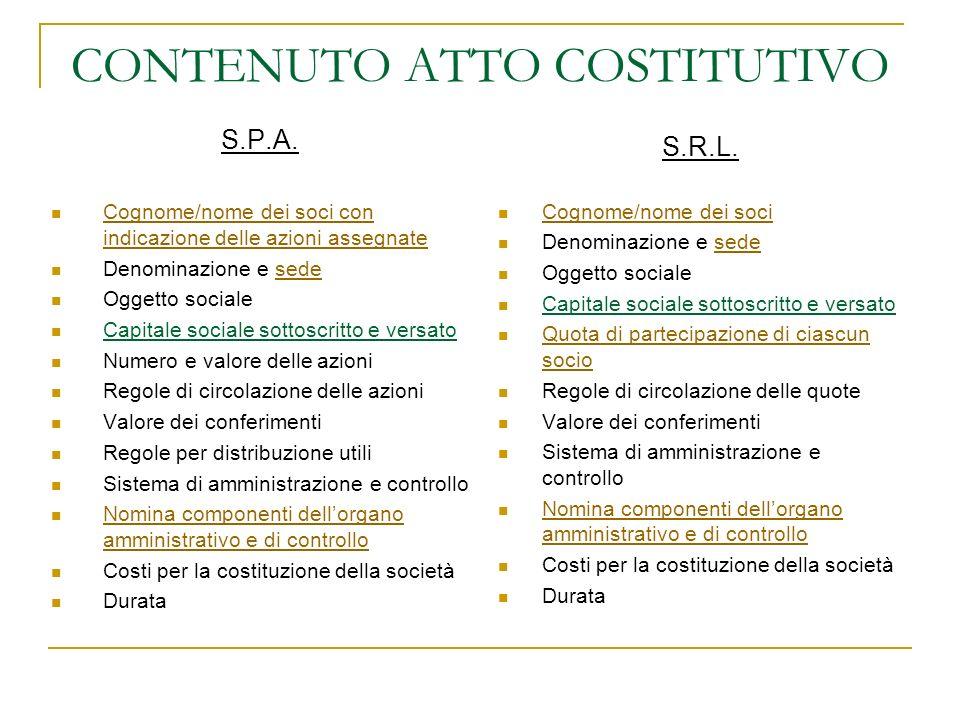 CONTENUTO ATTO COSTITUTIVO S.P.A.