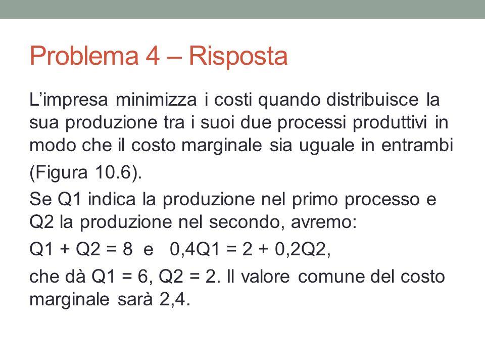 Problema 4 – Risposta Limpresa minimizza i costi quando distribuisce la sua produzione tra i suoi due processi produttivi in modo che il costo marginale sia uguale in entrambi (Figura 10.6).