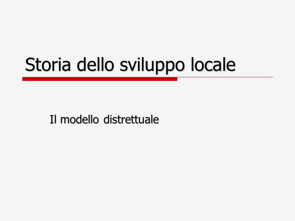 Storia dello sviluppo locale Il modello distrettuale