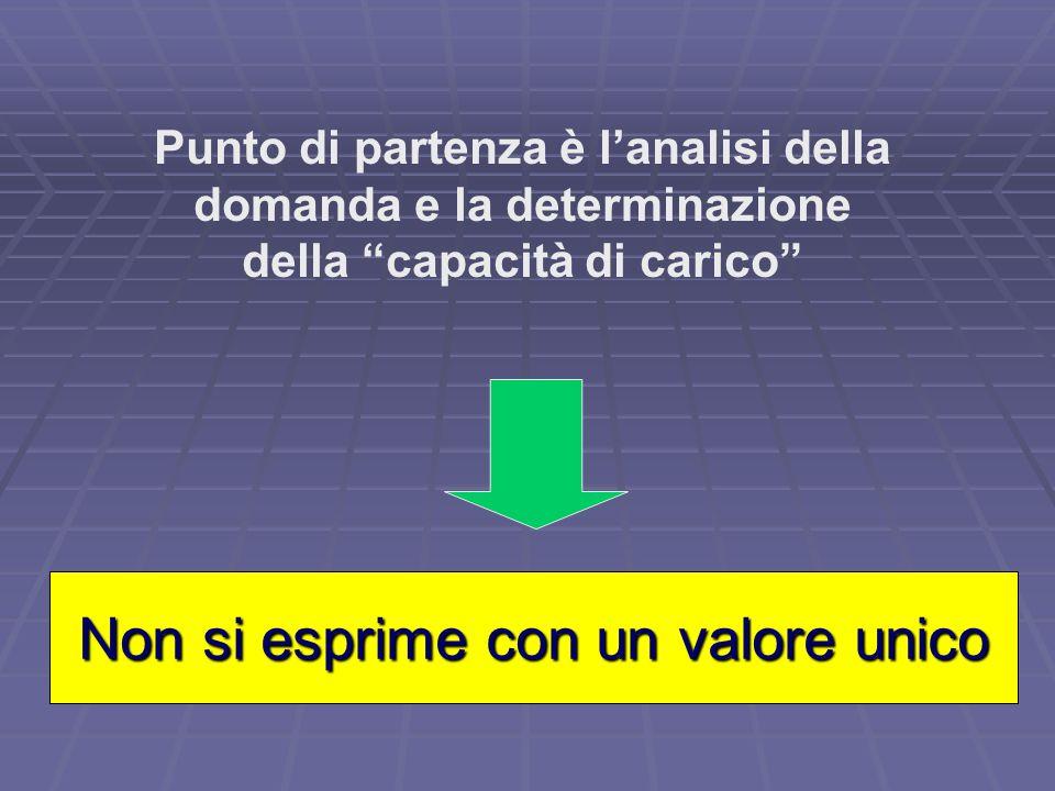 Punto di partenza è lanalisi della domanda e la determinazione della capacità di carico Non si esprime con un valore unico