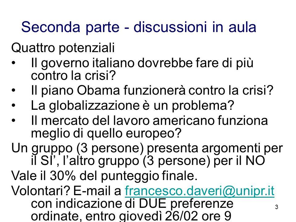 3 Seconda parte - discussioni in aula Quattro potenziali Il governo italiano dovrebbe fare di più contro la crisi? Il piano Obama funzionerà contro la
