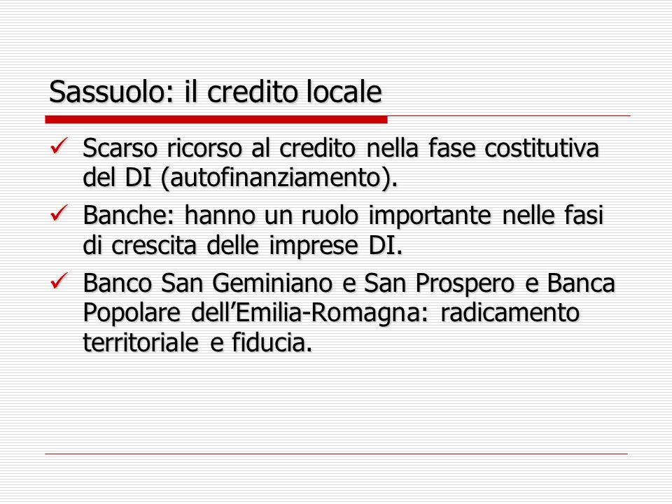 Sassuolo: il credito locale Scarso ricorso al credito nella fase costitutiva del DI (autofinanziamento). Scarso ricorso al credito nella fase costitut