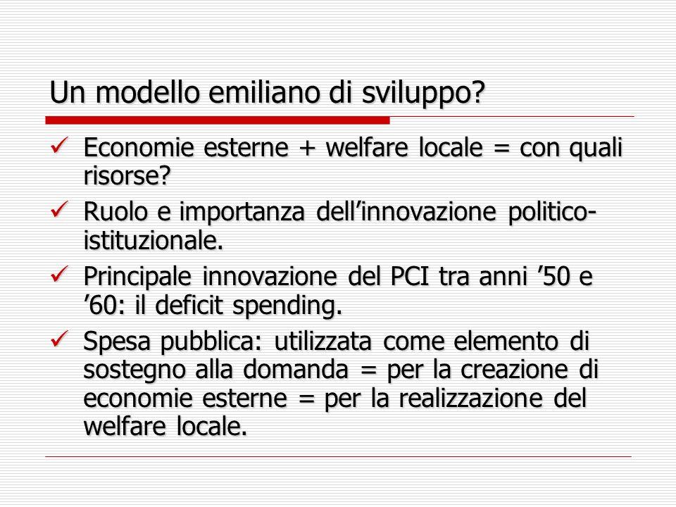 Un modello emiliano di sviluppo. Economie esterne + welfare locale = con quali risorse.