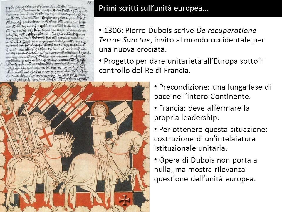 San Tommaso dAquino Primi scritti sullunità europea… 1306: Pierre Dubois scrive De recuperatione Terrae Sanctae, invito al mondo occidentale per una n