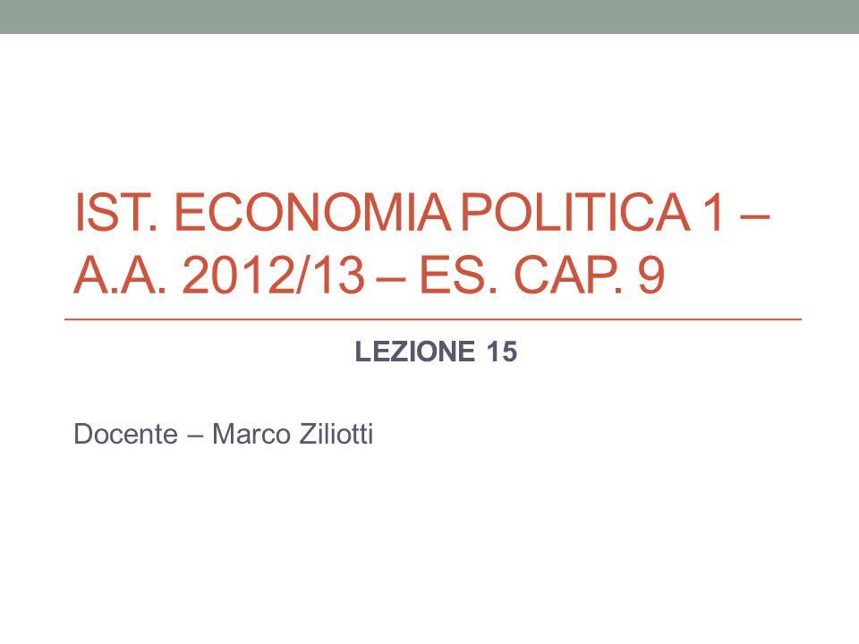 IST. ECONOMIA POLITICA 1 – A.A. 2012/13 – ES. CAP. 9 LEZIONE 15 Docente – Marco Ziliotti