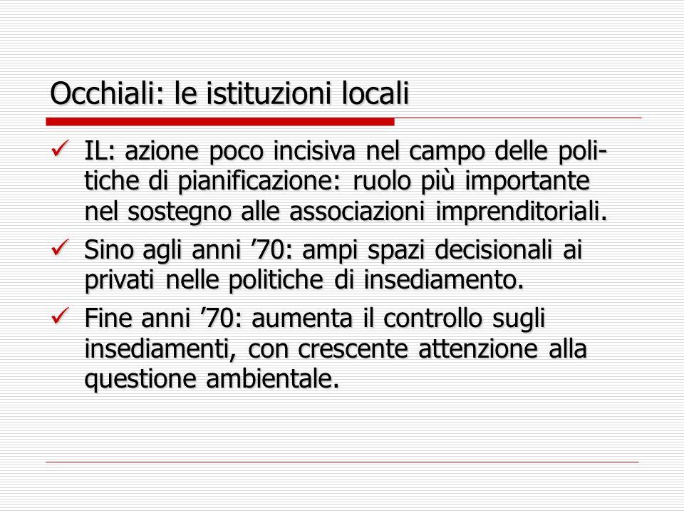 Occhiali: le istituzioni locali IL: azione poco incisiva nel campo delle poli- tiche di pianificazione: ruolo più importante nel sostegno alle associazioni imprenditoriali.