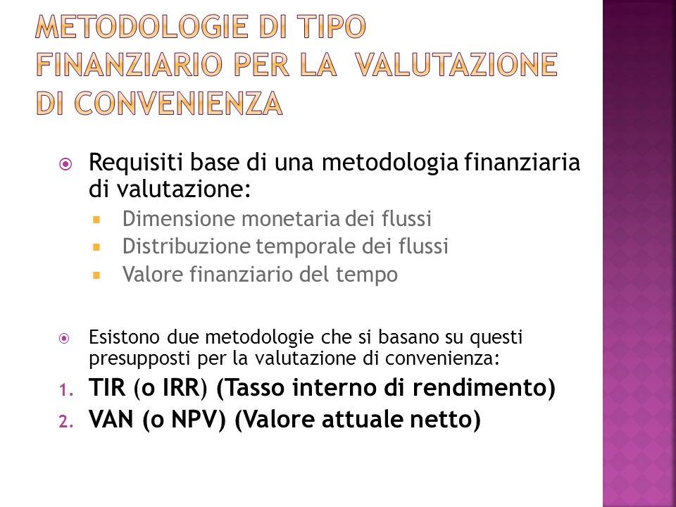 Requisiti base di una metodologia finanziaria di valutazione: Dimensione monetaria dei flussi Distribuzione temporale dei flussi Valore finanziario del tempo Esistono due metodologie che si basano su questi presupposti per la valutazione di convenienza: 1.