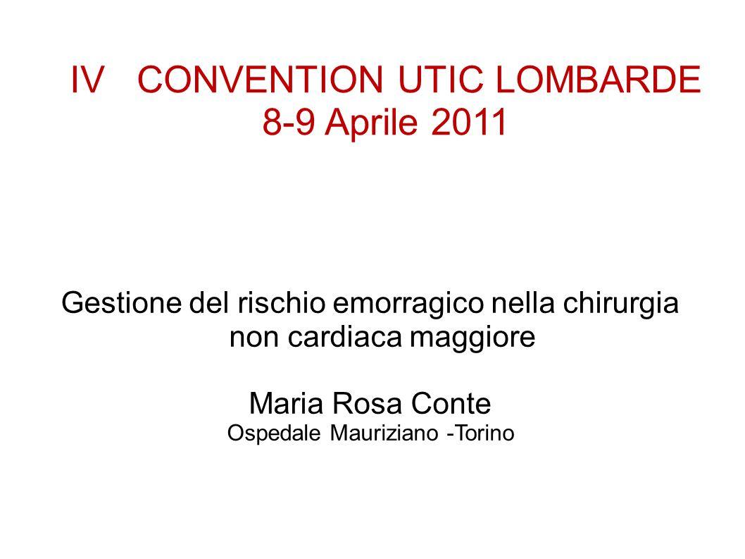 IV CONVENTION UTIC LOMBARDE 8-9 Aprile 2011 Gestione del rischio emorragico nella chirurgia non cardiaca maggiore Maria Rosa Conte Ospedale Mauriziano