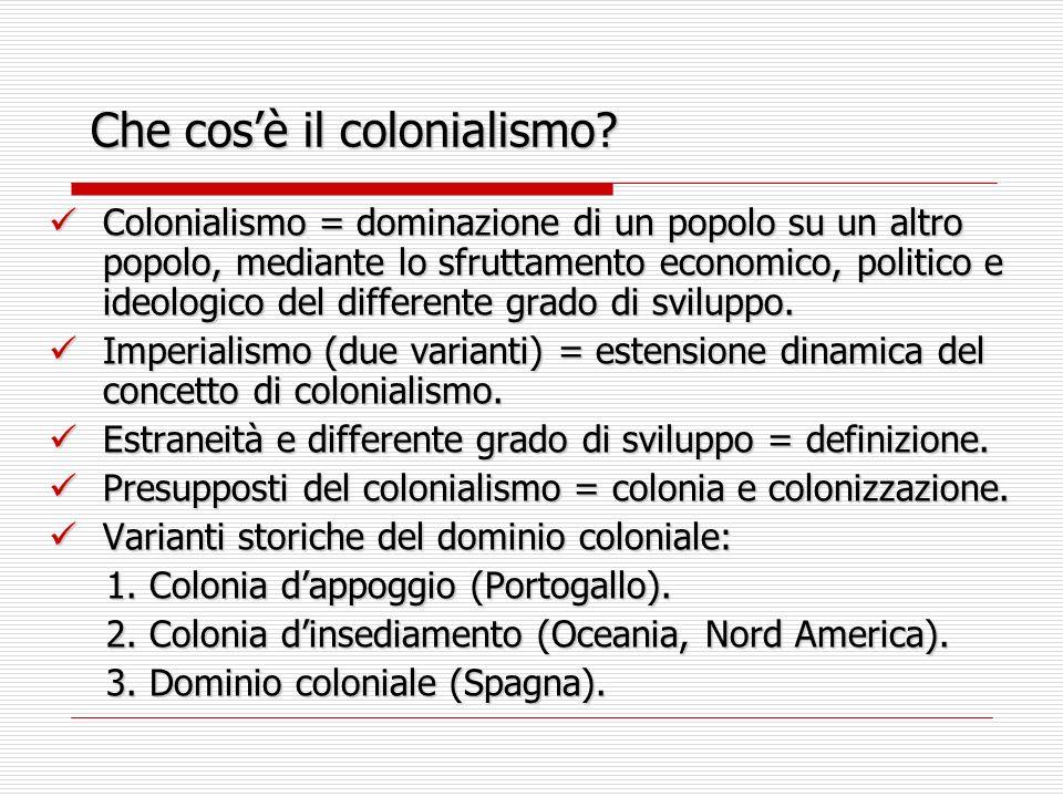 Che cosè il colonialismo? Colonialismo = dominazione di un popolo su un altro popolo, mediante lo sfruttamento economico, politico e ideologico del di
