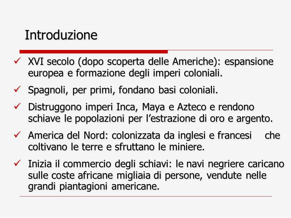 Introduzione XVI secolo (dopo scoperta delle Americhe): espansione europea e formazione degli imperi coloniali. XVI secolo (dopo scoperta delle Americ