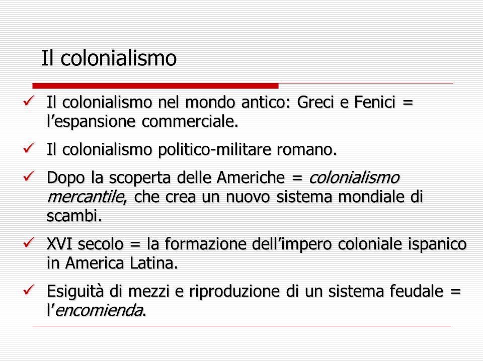 Il colonialismo Il colonialismo nel mondo antico: Greci e Fenici = lespansione commerciale.