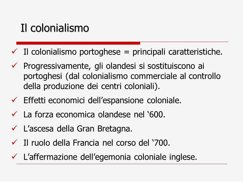 Il colonialismo Il colonialismo portoghese = principali caratteristiche. Progressivamente, gli olandesi si sostituiscono ai portoghesi (dal colonialis