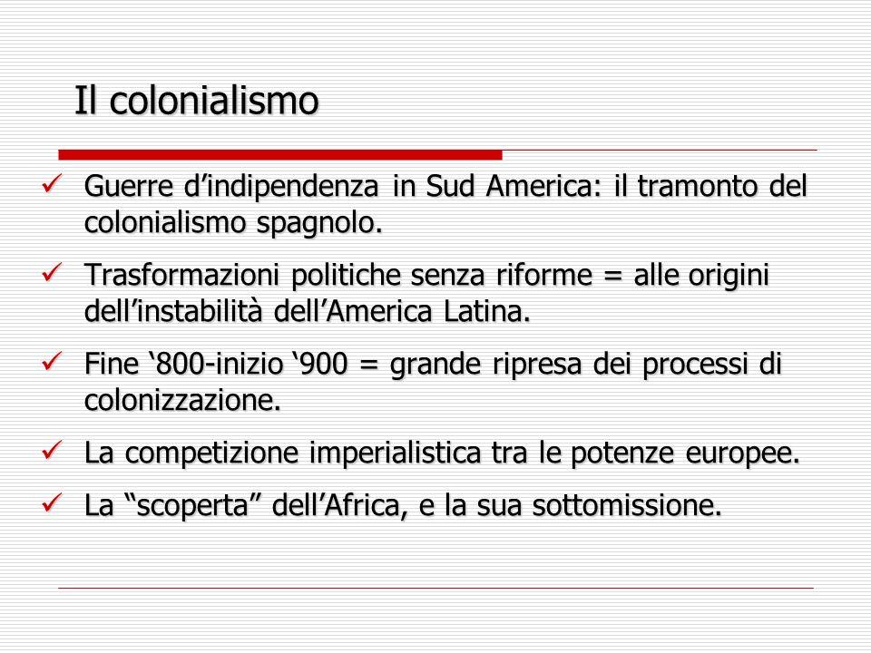 Il colonialismo Guerre dindipendenza in Sud America: il tramonto del colonialismo spagnolo. Guerre dindipendenza in Sud America: il tramonto del colon
