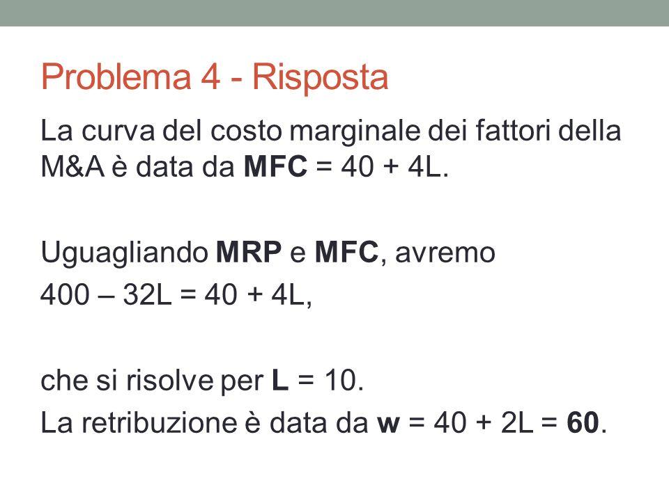 Problema 4 - Risposta La curva del costo marginale dei fattori della M&A è data da MFC = 40 + 4L.
