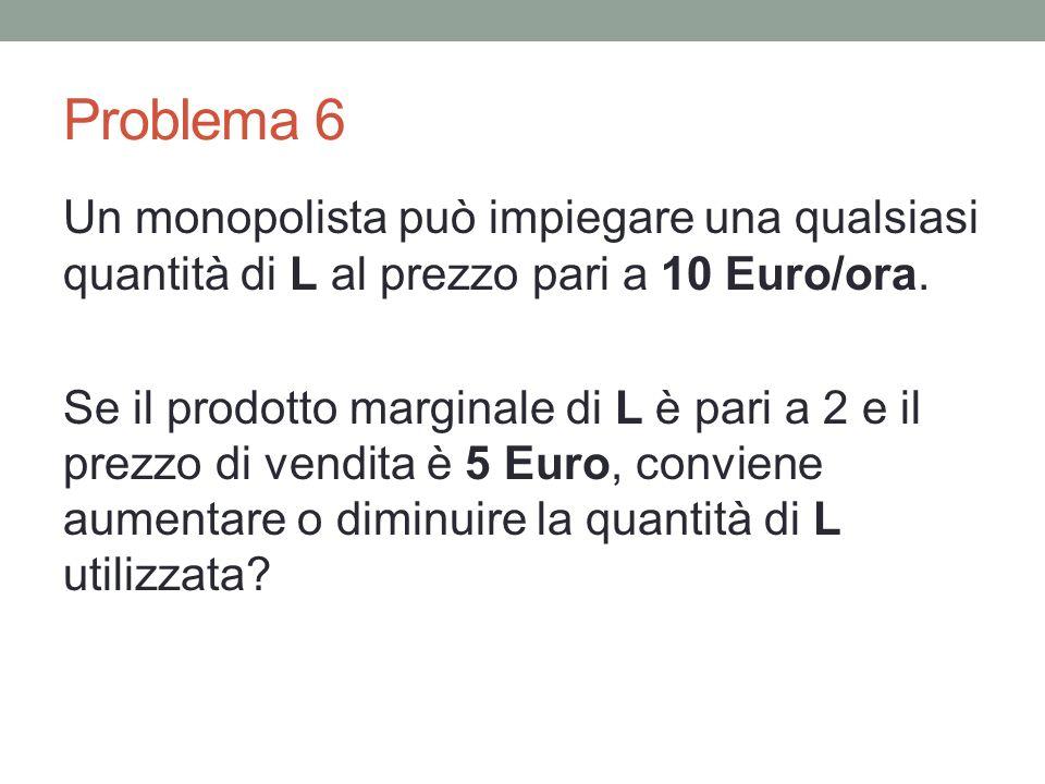 Problema 6 Un monopolista può impiegare una qualsiasi quantità di L al prezzo pari a 10 Euro/ora.