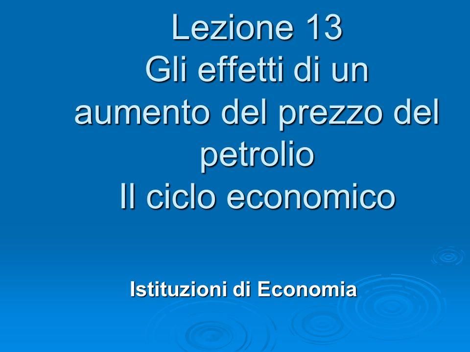 Lezione 13 Gli effetti di un aumento del prezzo del petrolio Il ciclo economico Istituzioni di Economia