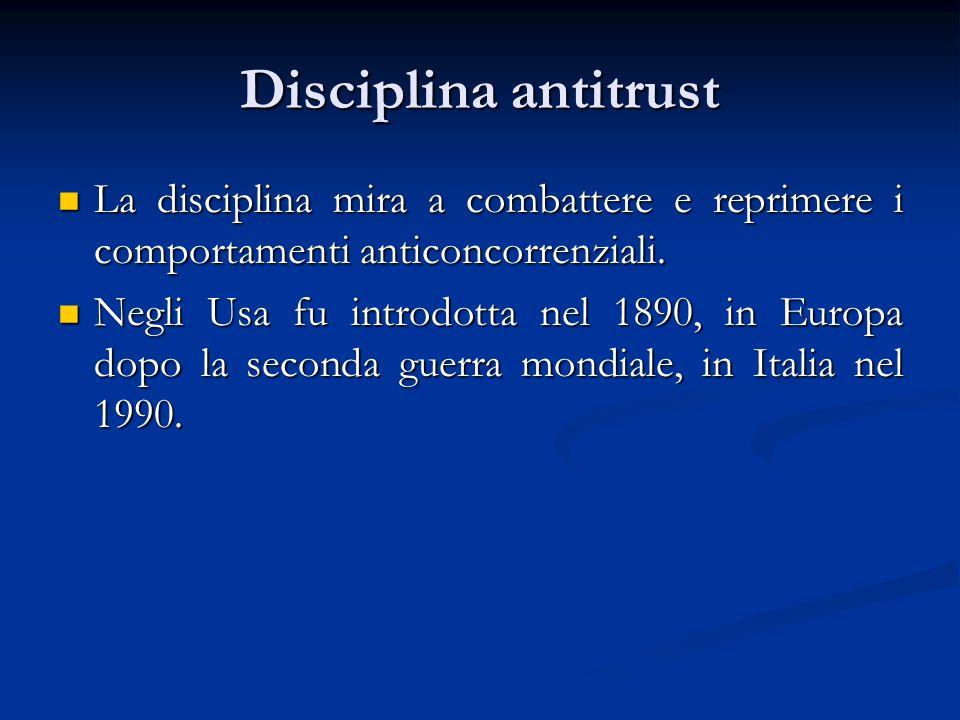 Disciplina antitrust La disciplina mira a combattere e reprimere i comportamenti anticoncorrenziali. La disciplina mira a combattere e reprimere i com