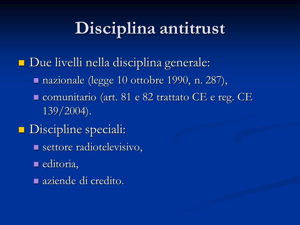 Disciplina antitrust Due livelli nella disciplina generale: Due livelli nella disciplina generale: nazionale (legge 10 ottobre 1990, n. 287), nazional