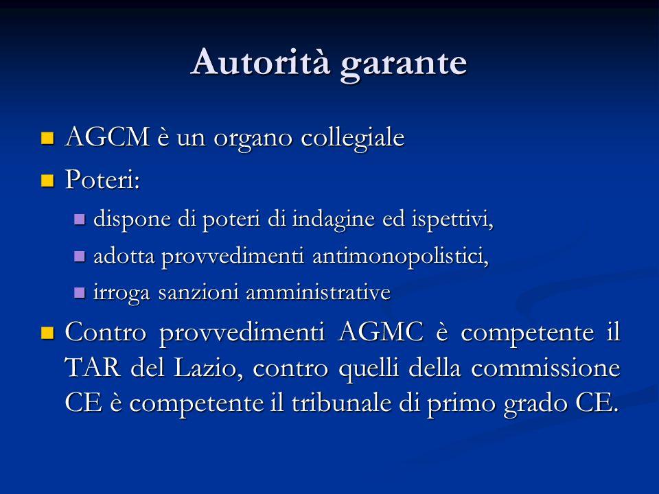 Autorità garante AGCM è un organo collegiale AGCM è un organo collegiale Poteri: Poteri: dispone di poteri di indagine ed ispettivi, dispone di poteri
