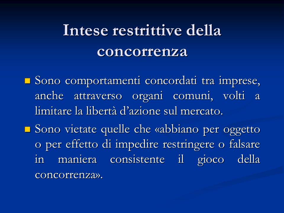 Intese restrittive della concorrenza Sono comportamenti concordati tra imprese, anche attraverso organi comuni, volti a limitare la libertà dazione su