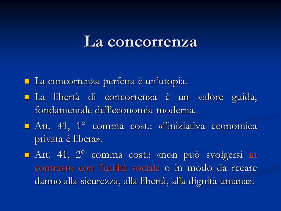 La concorrenza nella legislazione Legislazione antimonopolistica (antitrust), che mira alla tutela della concorrenza e del mercato.
