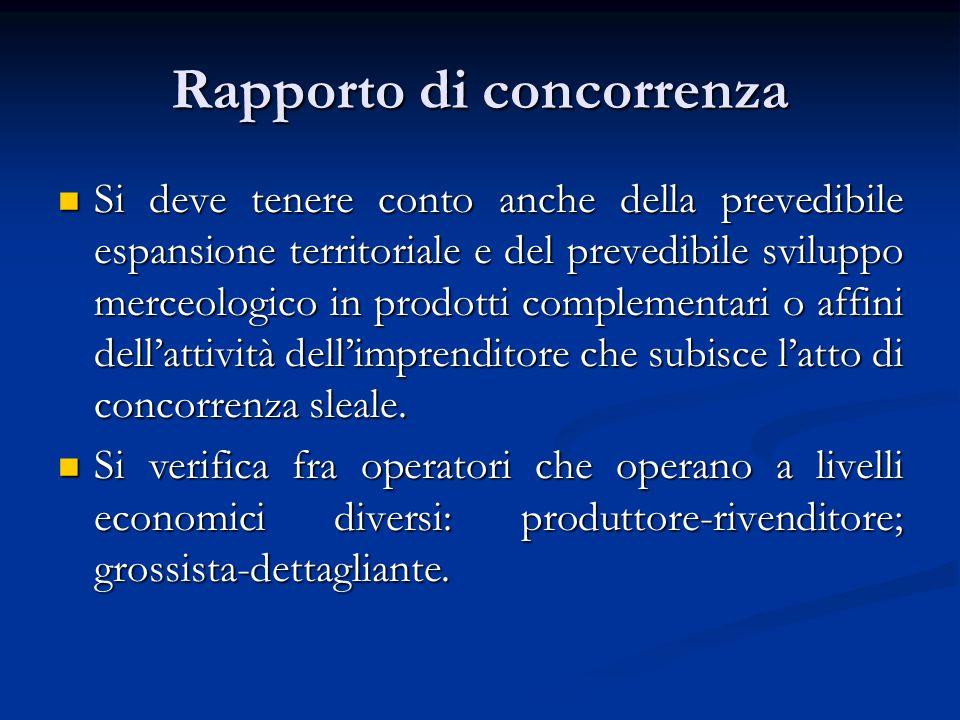 Rapporto di concorrenza Si deve tenere conto anche della prevedibile espansione territoriale e del prevedibile sviluppo merceologico in prodotti compl