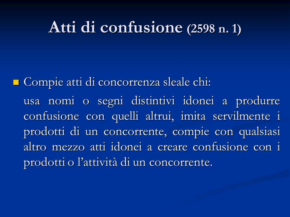 Atti di confusione (2598 n. 1) Compie atti di concorrenza sleale chi: Compie atti di concorrenza sleale chi: usa nomi o segni distintivi idonei a prod
