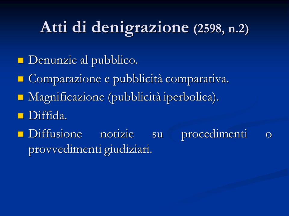 Atti di denigrazione (2598, n.2) Denunzie al pubblico. Denunzie al pubblico. Comparazione e pubblicità comparativa. Comparazione e pubblicità comparat